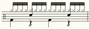 基本的な16ビートのドラム・パターン