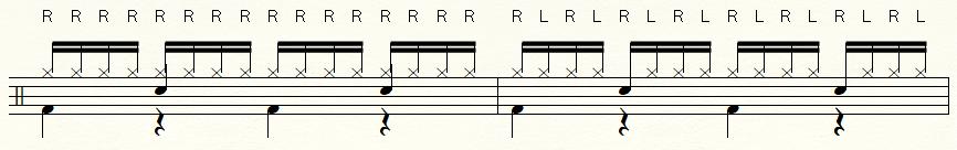 片手で16分音符を叩く譜面・両手を使って16分音符を叩く譜面