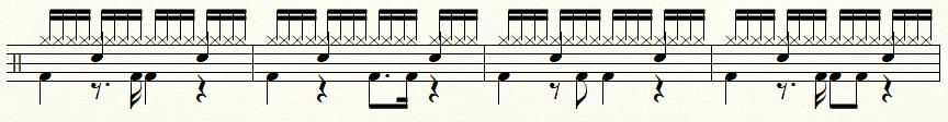 【ドラム】16ビートの練習用譜面