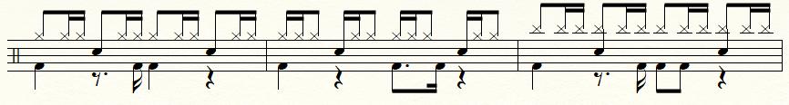 ドラムの16ビート譜面例:ハイハット、ライドシンバルの追加