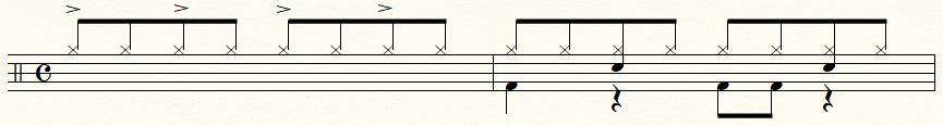 テンポが遅い時のシングルカウントの例
