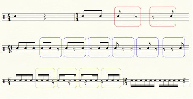 様々なリズムの音符・休符