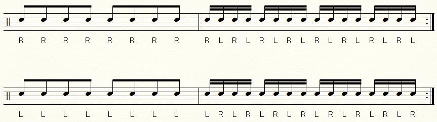 右手スタート左手スタートの譜面