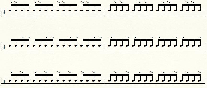16分音符の2アクセントの譜面