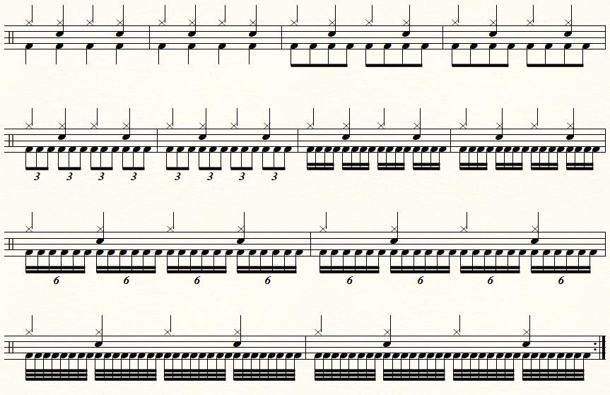 【ドラム】ツインペダルでのチェンジアップの練習譜面