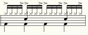 ドラムの16ビート譜面例:アクセントの追加