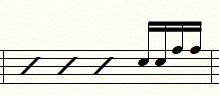 16分音符4つ(タカタカ)のフィルイン