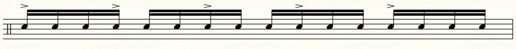 ドラムのバケラッタの説明譜面「16分音符の3つ割り」