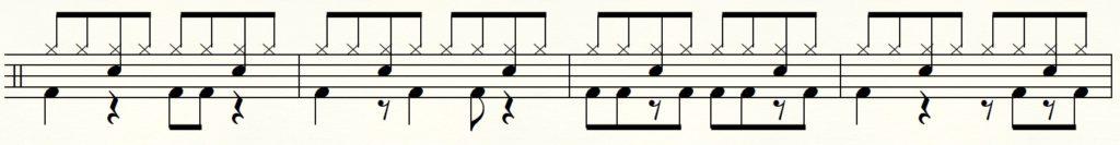 ツインペダルの左足だけで演奏する練習用譜面