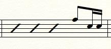 16分音符1つ+16分休符1つ+16分音符2つ(タンタカ)のフィルイン