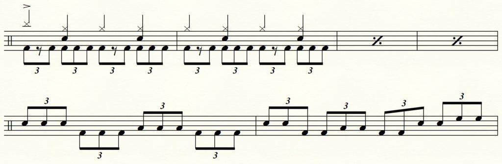 【ドラム】3連符でツインペダルを使用する譜面