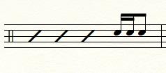 16分音符3つ+16分休符1つ(タカタン)のフィルイン