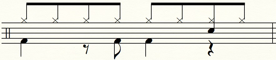 4拍目のみスネアドラムを叩くエイトビート