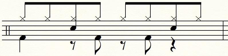 2拍ウラと3拍ウラでバスドラムを踏むエイトビート