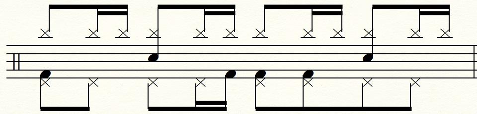 左足のリズム:8分音符