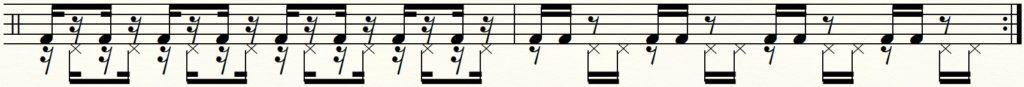 足でのダブルストロークの譜面
