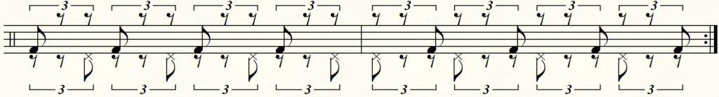 足でのシャッフルパターンの譜面