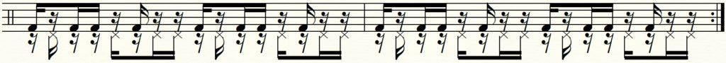 足でのパラディドルの譜面