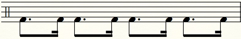 サンバキックの譜面から右足だけ抜き出した譜面